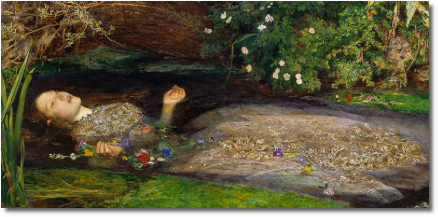 Painting of Ophelia singing before she drowns (Millais, 1852)
