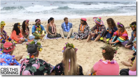 Prince Happy and Meghan talk mental health in a circle at Bondi beach, Australia (19 Oct 2018)