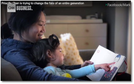 Priscilla Chan reading a book with her daughter