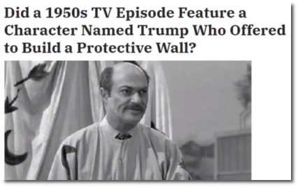 Shyster on TV named Trump offers to build a wall in Texas to protect citizens in the 1950's.