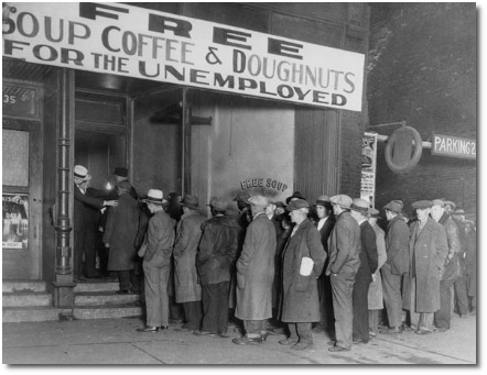 Line formed outside a soup kitchen during the Great Depression.