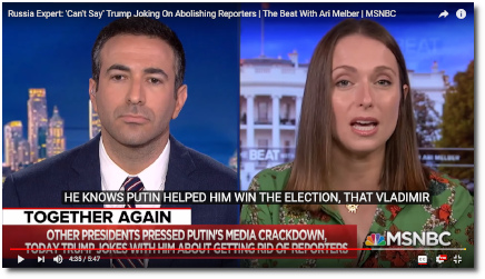 Russian born expert on Russia Julia Ioffe says Trump knows that Putin helped him win the election (28 June 2019)