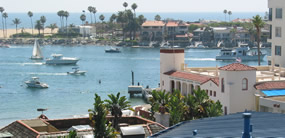 Channel to Newport Harbor, viewed from Corona del Mar, Newport Beach