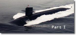 Nuclear-powered ballistic-missile submarine underway