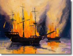 Burn the Ships! says Hernando Cortez in 1519 to conquer the Aztecs and plunder their gold