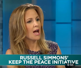 Lauren interviewing Russell Simmons on Yahoo Finance (Aug 5) discussing how prisons profit from jailing kids