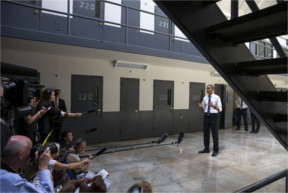 Obama addresses the press at El Reno Prison in Oklahoma on July 16, 2015