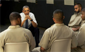 Obama listens to inmates at El Reno Prison in Oklahoma on July 16, 2015