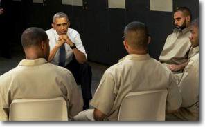Obama listens to prisoners at El Reno in Oklahoma on July 16, 2015