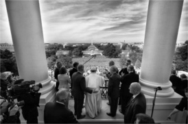 Pope Francis at Speaker's Balcony of Capitol on Thursday Sept 24, 2015