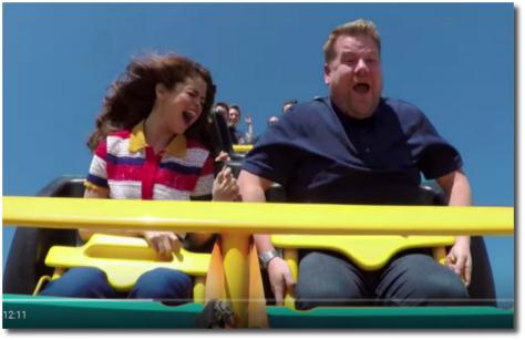 Selena and James Corden on a roller coaster