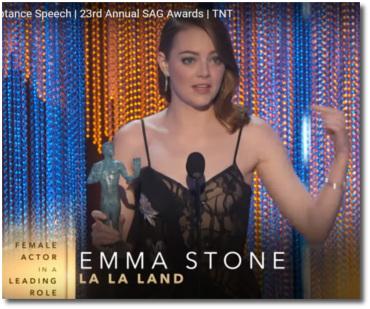 Emma Stone wins Best Actress for her role in La La Land at 2017 SAG Awards Shrine Auditorium Los Angeles Jan 29