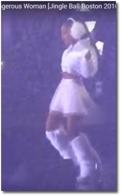 Dangerous Woman in white, pre-wail run-up Jingle Ball Boston Dec 11, 2016