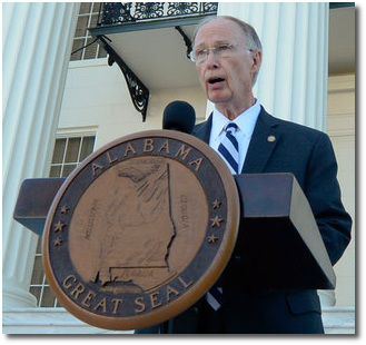 Governor Robert Bentley of Alabama outside the Capitol in Montgomery April 7, 2017