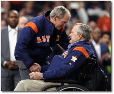 Dubya and George Bush Game 5 World Series Houston Oct 29, 2017