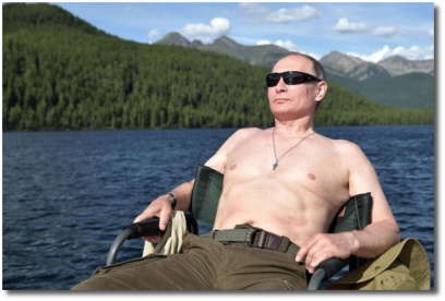 Putin looking manly as he vacations in the remote Tuva region of southern Siberia