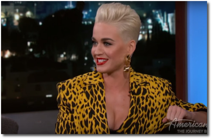 Katy Perry looking happy and healthy on Jimmy Kimmel
